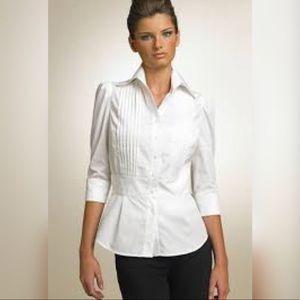 Diane Von Furstenberg Abiba Tuxedo Black Shirt 10